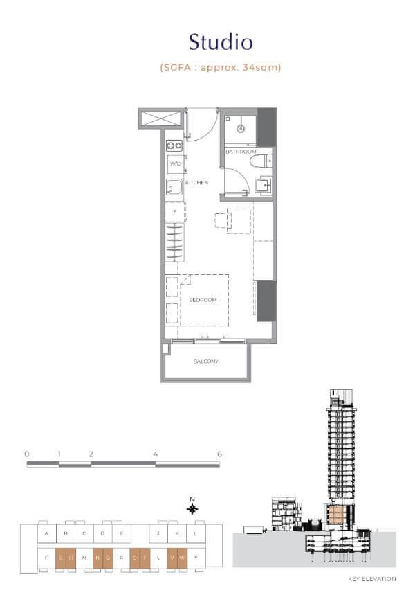 Denah Tipe Studio - Apartemen Arumaya Residence